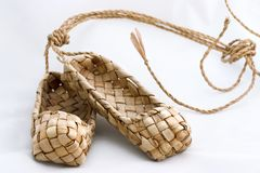 Bast shoes (lapty ). Russian vintage shoes , hand made (souvenir Stock Photo