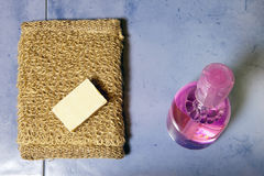 Bast, soap and bottle of gel on a tile, flat lay Stock Image