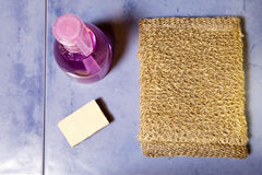 Bast, tvål och flaskan av stelnar på en tegelplatta, den lekmanna- lägenheten Arkivbild