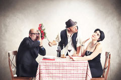 Bastaardrozenverkoper in liefde met een gehuwde vrouw Stock Foto