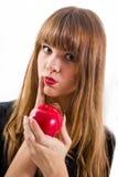 Bastante, chica joven y manzana roja imagen de archivo libre de regalías