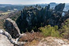 Bastei在撒克逊人的瑞士 库存图片