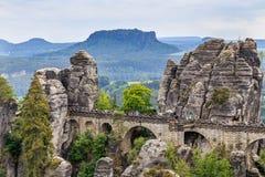 Bastei山储备 撒克逊人的瑞士 库存图片