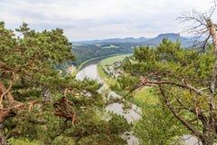 Bastei山储备 撒克逊人的瑞士 库存照片