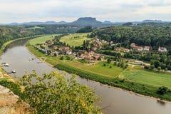 Bastei山储备 撒克逊人的瑞士 免版税图库摄影