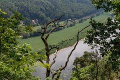 Bastei山储备 撒克逊人的瑞士 免版税库存照片