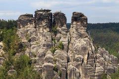 Bastei山储备 撒克逊人的瑞士 图库摄影