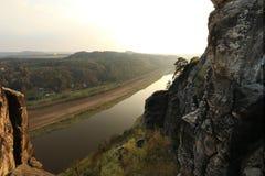 Bastei易北河视图,德国 免版税库存照片