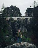 Bastei桥梁在撒克逊人的瑞士在秋天,德国 库存照片