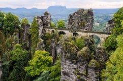 Bastei桥梁在撒克逊人的瑞士,德国 免版税库存照片