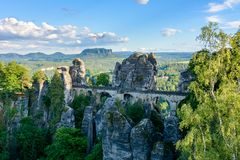 Bastei桥梁在撒克逊人的瑞士 德国,萨克森 库存照片