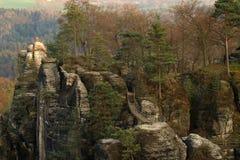 Bastei,撒克逊人的瑞士,德国 库存照片