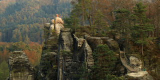 Bastei,撒克逊人的瑞士,德国 库存图片