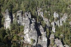 Bastei Σχηματισμοί βράχου Γερμανία στοκ εικόνα