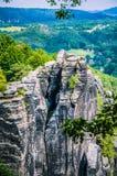 Σχηματισμός βράχου Bastei στο σαξονικό εθνικό πάρκο της Ελβετίας, Γερμανία στοκ φωτογραφία με δικαίωμα ελεύθερης χρήσης