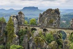 Bastei Bridge from cliff Ferdinand Stein Saxon Switzerland Royalty Free Stock Image