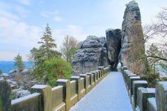 Bastei Bridge in the mountains of Saxony royalty free stock image