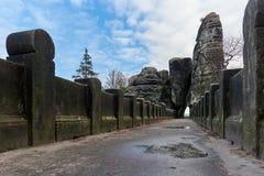 The Bastei Bridge, old stone footbridge. Germany Royalty Free Stock Images