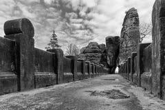 The Bastei Bridge, old stone footbridge. Germany Royalty Free Stock Image