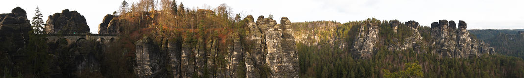 Bastei bridge panoram Stock Images