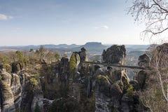 The Bastei Bridge and rock formation in Saxon Switzerland, Dresden, Germany stock image