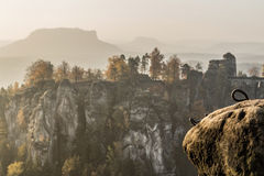 Bastei bridge in Saxon Switzerland in autumn, Germany Stock Image