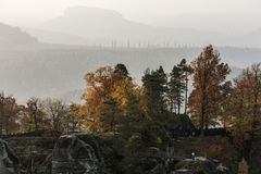 Bastei bridge in Saxon Switzerland in autumn, Germany Stock Images