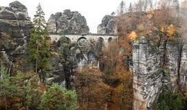 Bastei bridge in Saxon Switzerland, Germany royalty free stock image