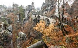 Bastei bridge in Saxon Switzerland, Germany royalty free stock photo