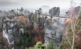 Bastei bridge in Saxon Switzerland, Germany stock photography