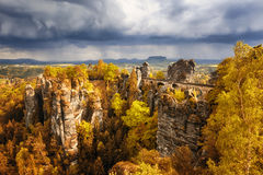 Bastei bridge in Saxon Switzerland, Germany, autumn Stock Photography