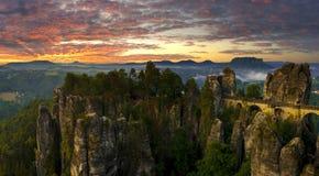 The Bastei bridge, Saxon Switzerland National Park, Germany Royalty Free Stock Photo