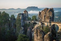 The Bastei bridge, Saxon Switzerland National Park, Germany Stock Image