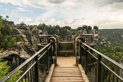 Bastei bridge in Saxon Switzerland in summer Royalty Free Stock Images