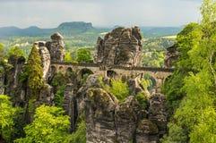 Bastei bridge in Saxon Switzerland in summer Stock Photo
