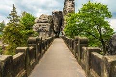 Bastei bridge in Saxon Switzerland in summer Royalty Free Stock Photography