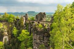 Bastei bridge in Saxon Switzerland in summer Royalty Free Stock Image