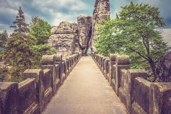Bastei bridge in Saxon Switzerland in summer Royalty Free Stock Photos