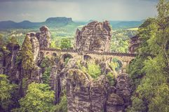 Bastei bridge in Saxon Switzerland in summer Stock Photography