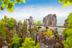 Bastei bridge in summer, Germany Royalty Free Stock Images
