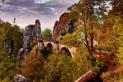 Bastei bro i saxony royaltyfri bild