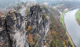 Bastei and Elbe river, Germany Stock Photos