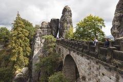 Bastei Formaciones de roca alemania Imagen de archivo libre de regalías