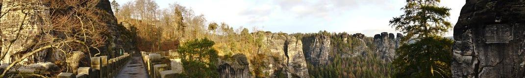 Bastei mosta panorama Zdjęcie Stock
