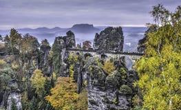 Bastei. Rock Castle The Bastei in autumn day Stock Image