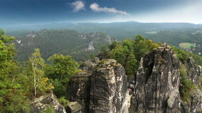 Bastei rock formation in Saxon Switzerland National Park, Germany stock footage