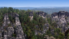 Bastei rock formation in Saxon Switzerland National Park, Germany stock video