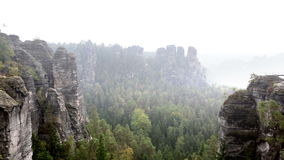 Bastei rock formation in Saxon Switzerland National Park, Germany stock video footage
