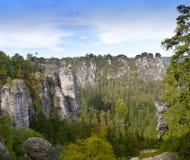 Bastei rock formation in Saxon Switzerland National Park, Germany Stock Image