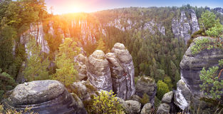 Bastei rock formation in Saxon Switzerland National Park, Germany Royalty Free Stock Images